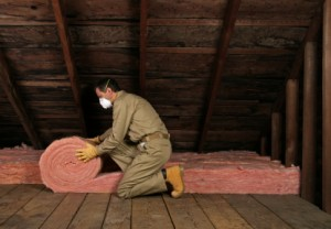 attic insulation over floorboards