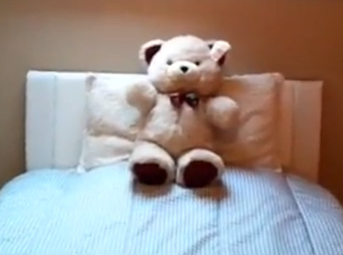 teddy on bed in attic conversion