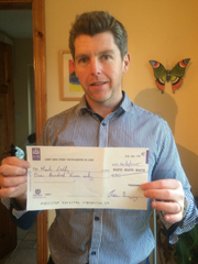 Mark Lally with cheque in hand;-)
