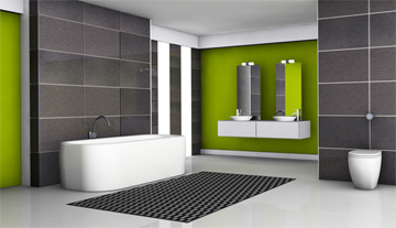 Grey & Green Tiled Bathroom with Large Format Tiles & Double Sink