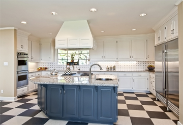 Tiled Kitchen with Check Pattern Matt Ceramic Tiled Floor and Ceramic Pattern Wall Tiles