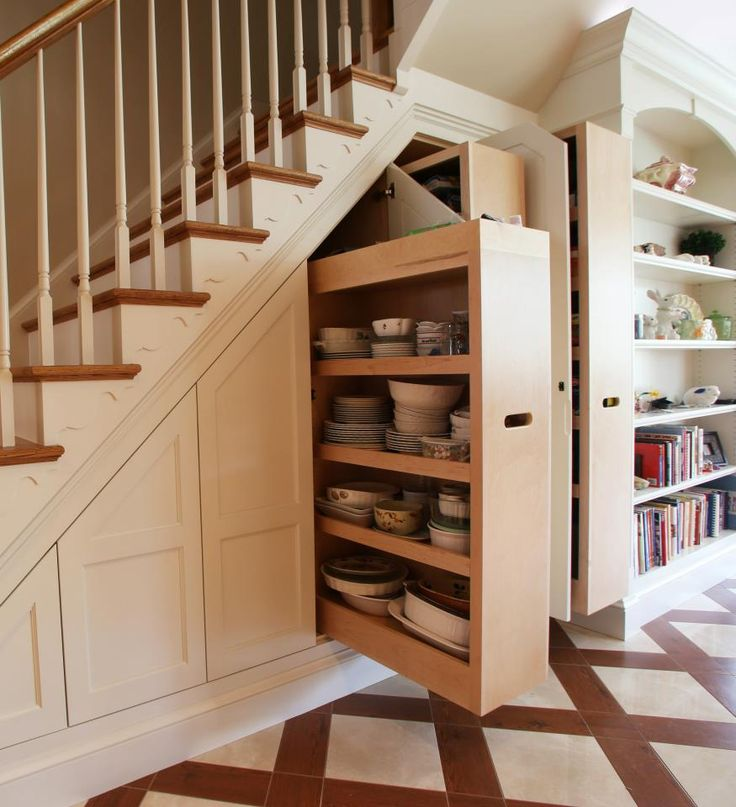 Pull out drawers under stairs storage