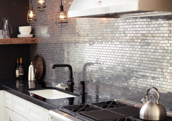 Metallic tiles in kitchen