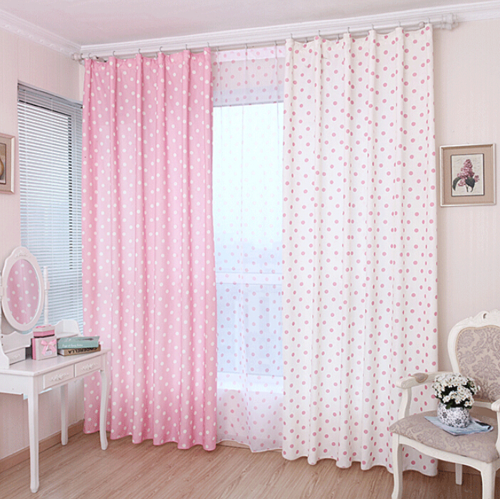 Polka dot curtains with blackout lining