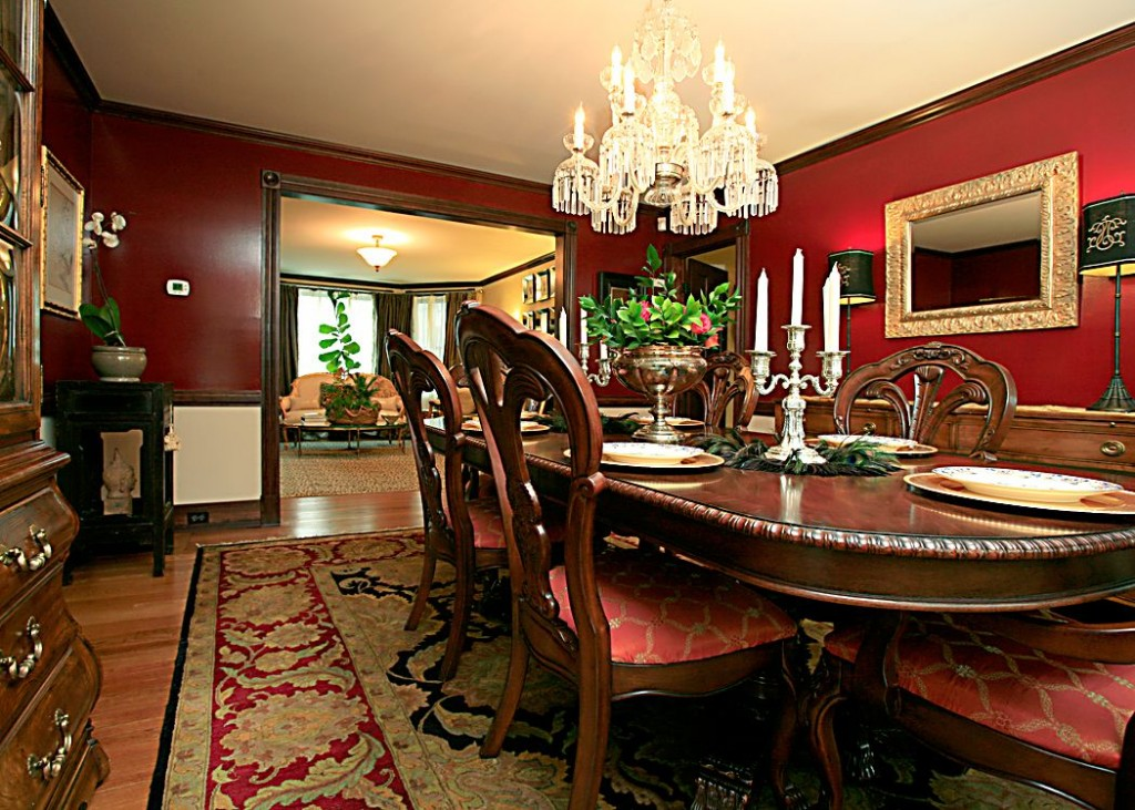 red dining room formal