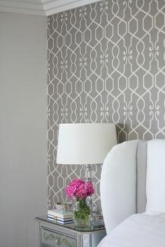 Feature wall wallpaper in bedroom