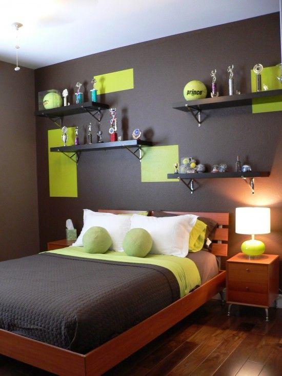 grey and green bedroom teenage boy