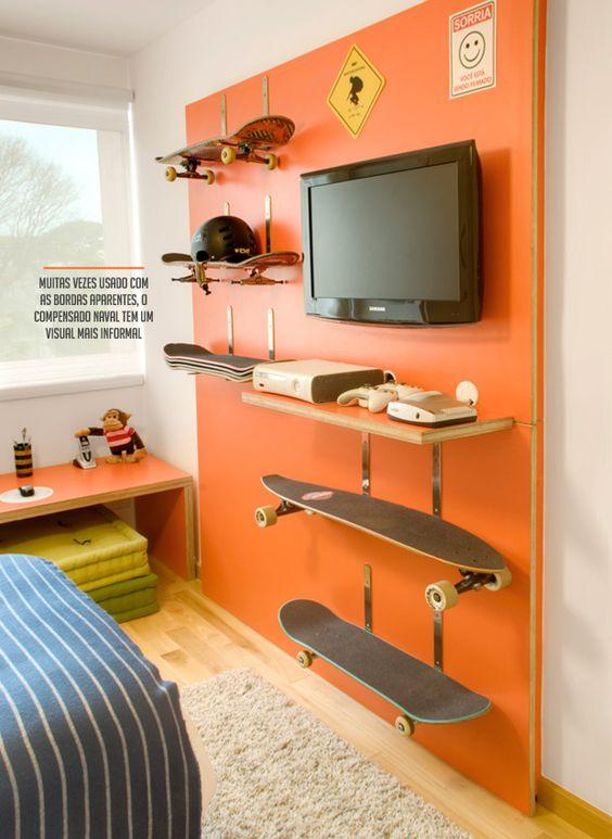 skateboards teenage bedroom