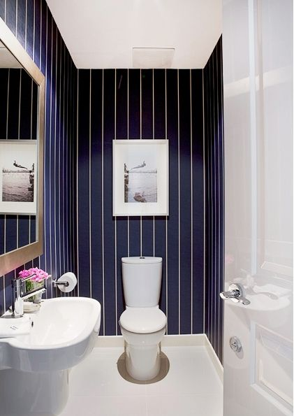 Attirant Stripe Wallpaper Toilet