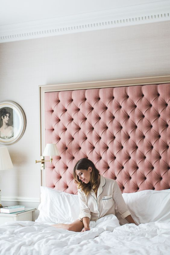 Headboard pink tufted