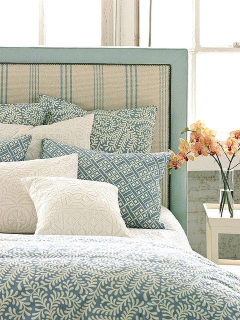 Headboard ticking teal