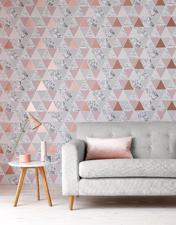interior design trends geometric wallpaper