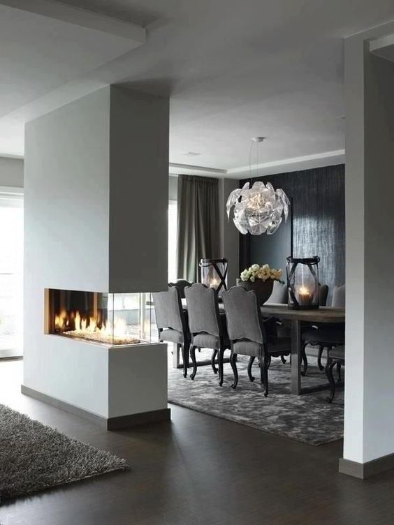 room divider fireplace