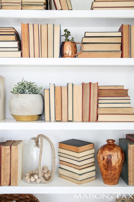 books spines to wall