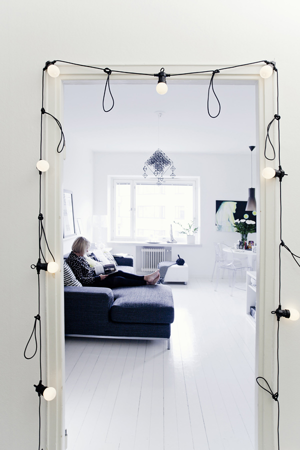White lights doorway