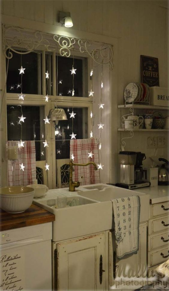 white lights kitchen