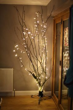 white lights on branches