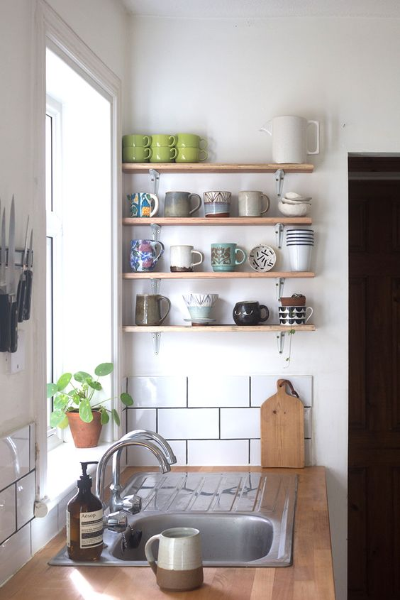 kitchen organising wall shelving for mugs