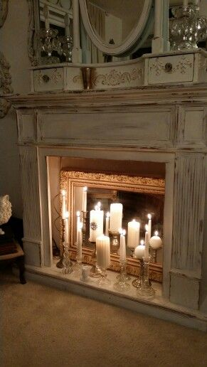 fireplace candles with mirror