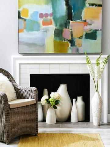 fireplace white vases