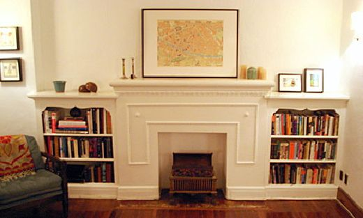false fireplace with shelves