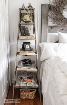 Ladder as bedside table