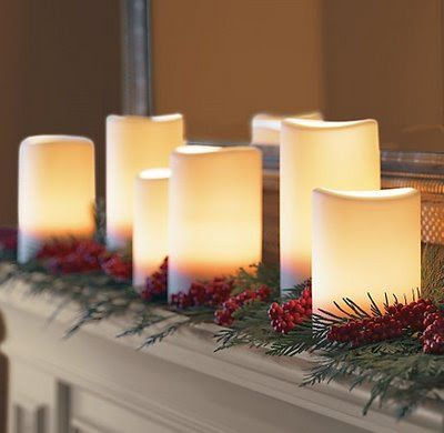 Candles mantelpiece Christmas