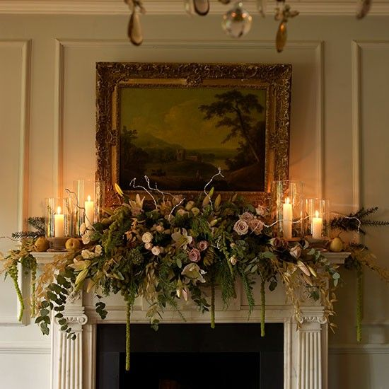 Greenery Christmas mantelpiece