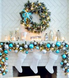 blue and gold christmas mantelpiece