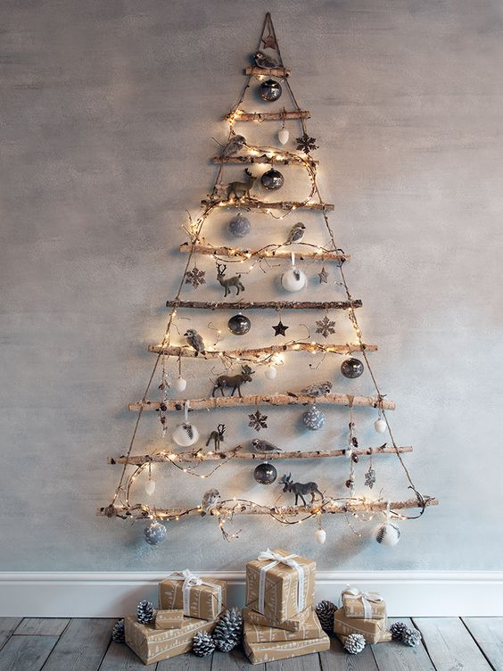 Wall mounted twig Christmas tree